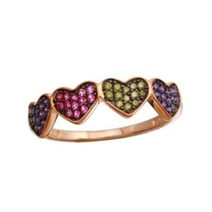 Rose Gold Plated 4 Heart Multi-Colored CZ Ring